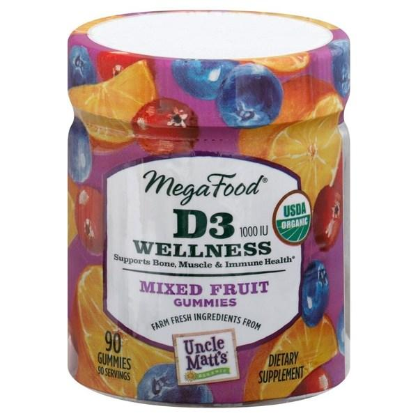 Megafood, D3 Wellness, mixed fruit, 1000 IU, 90 gummies фото