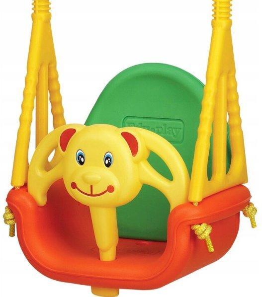 Edu-play Детские качели подвесные Медвежонок, красный/желтый/зеленый фото