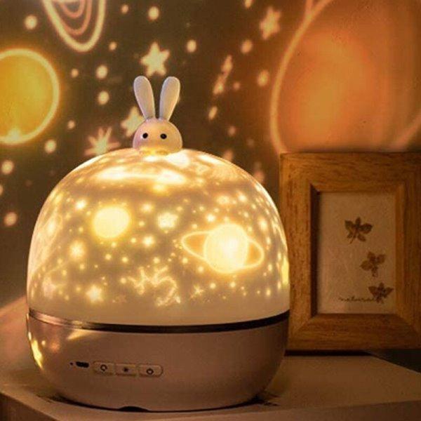Светодиодный праздничный детский ночник проектор вращающийся, 6 тем фото